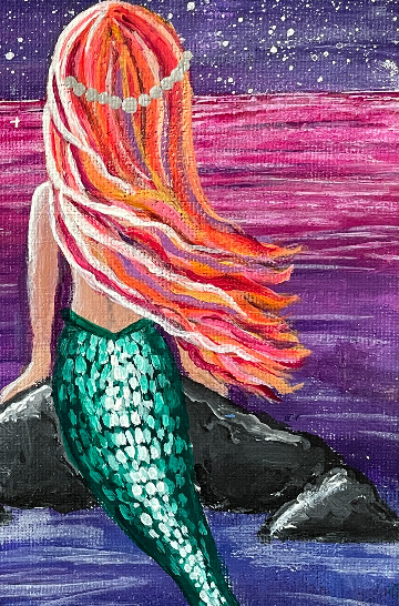 marmaid painting hair tiara