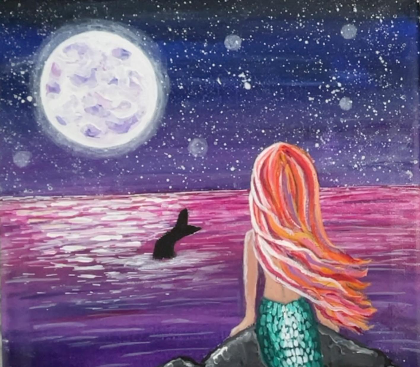 mermaid painting glowing moon
