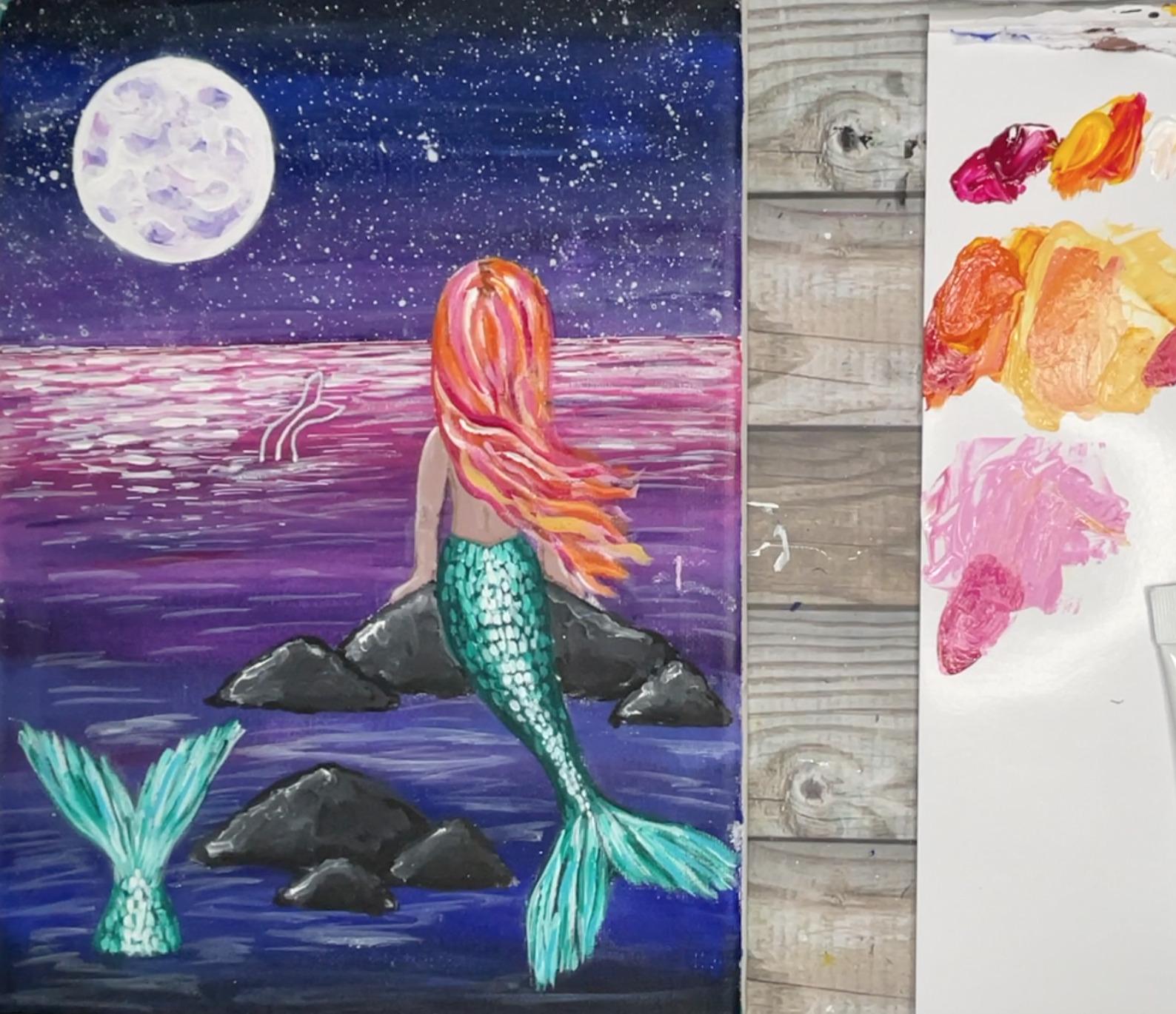 mermaid painting hair