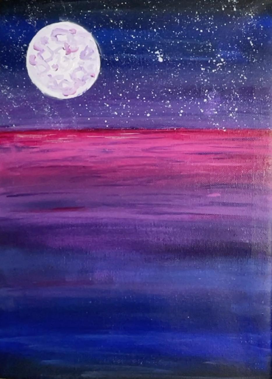 mermaid painting moon 2