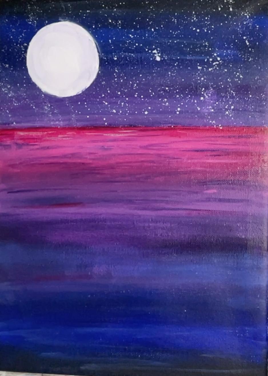 mermaid painting moon