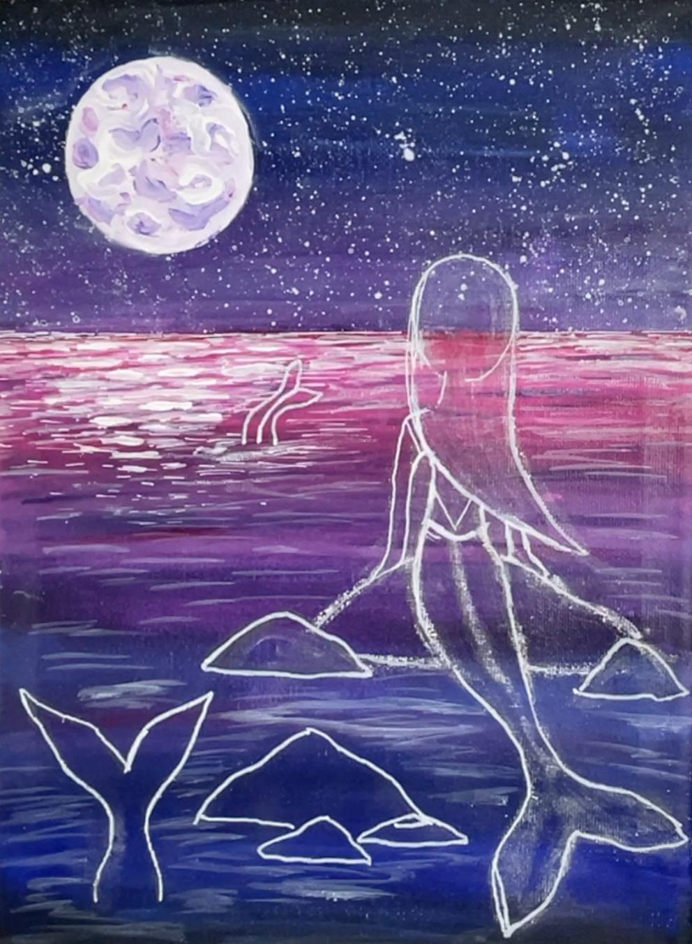 mermaid painting night ocean