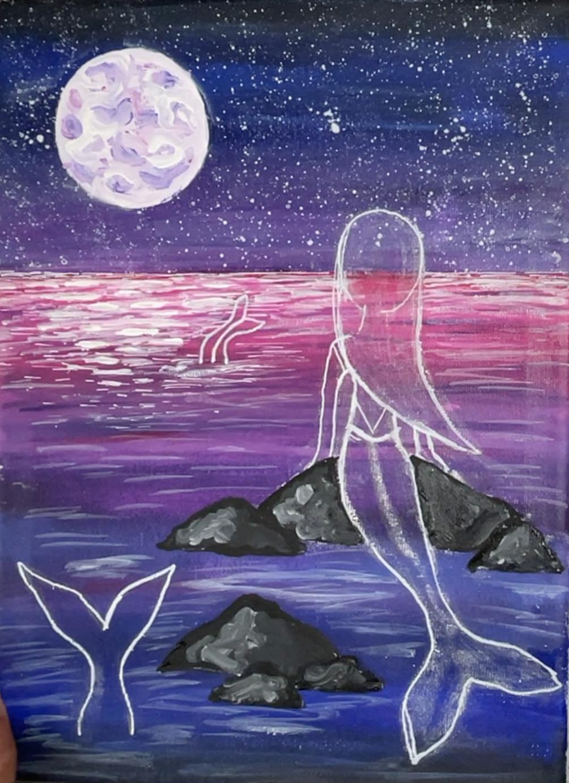 mermaid painting rocks ocean
