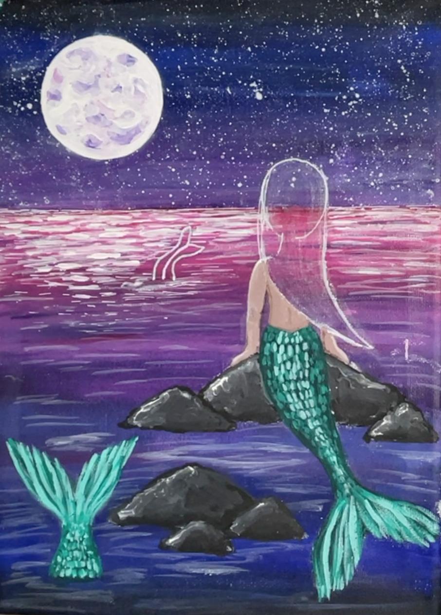 mermaid painting tail scales 2