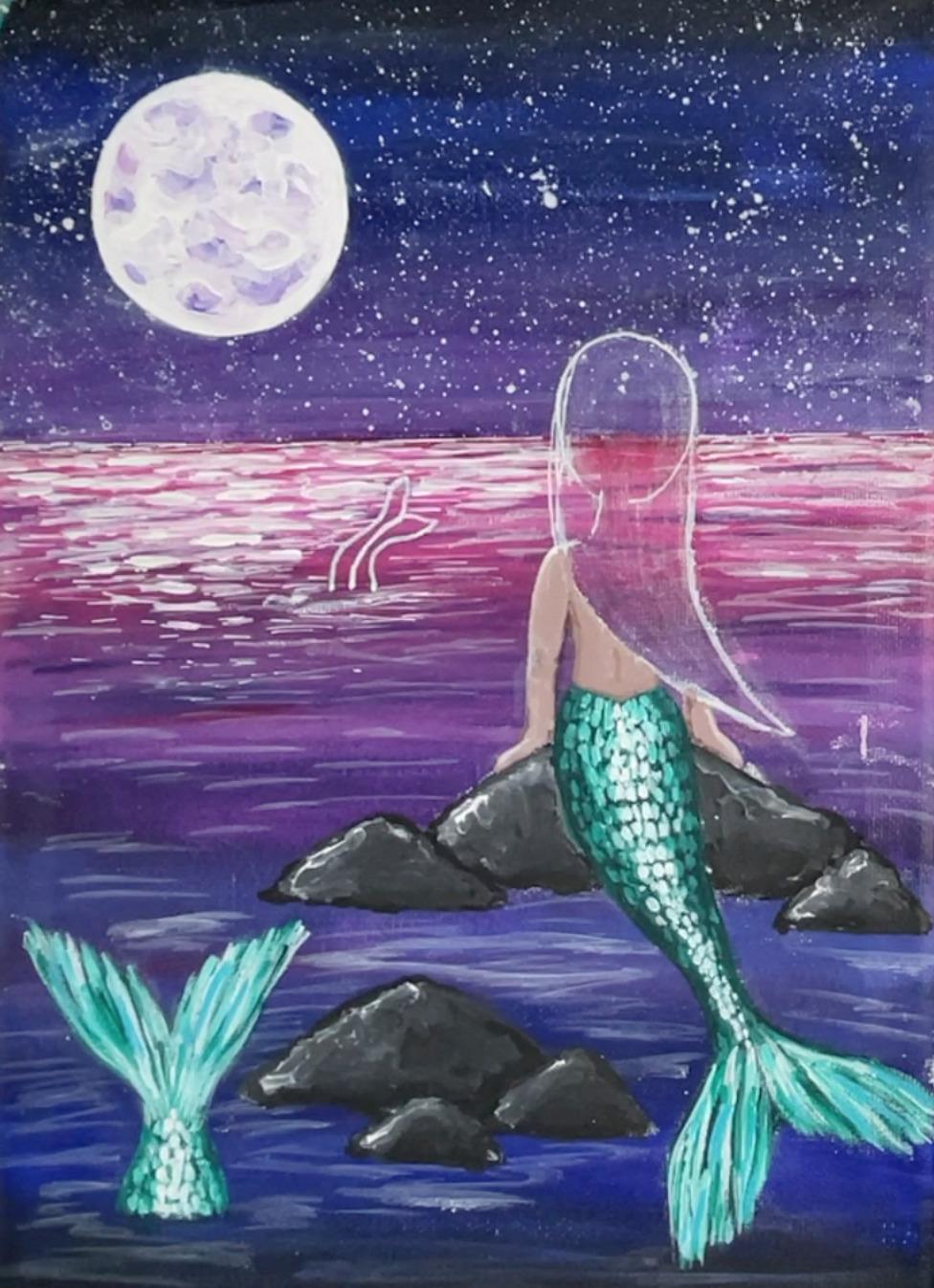 mermaid painting tail scales 3
