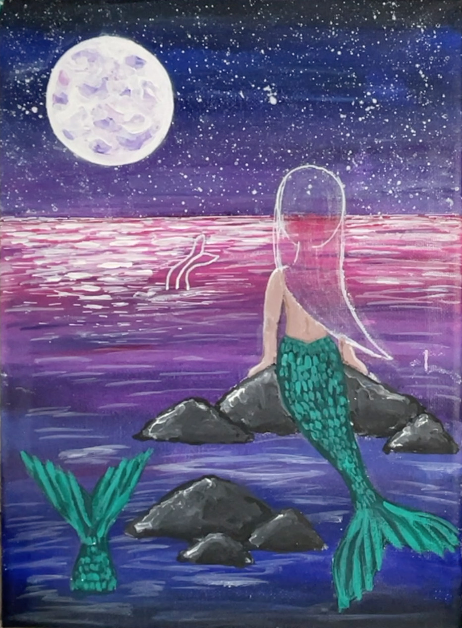 mermaid painting tail scales