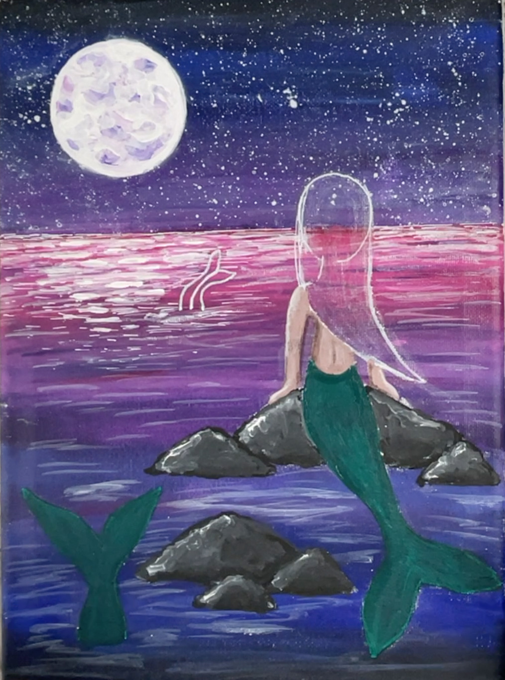 mermaid painting tails green