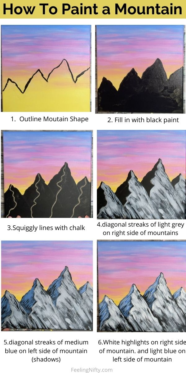how to paint a mountain infographic