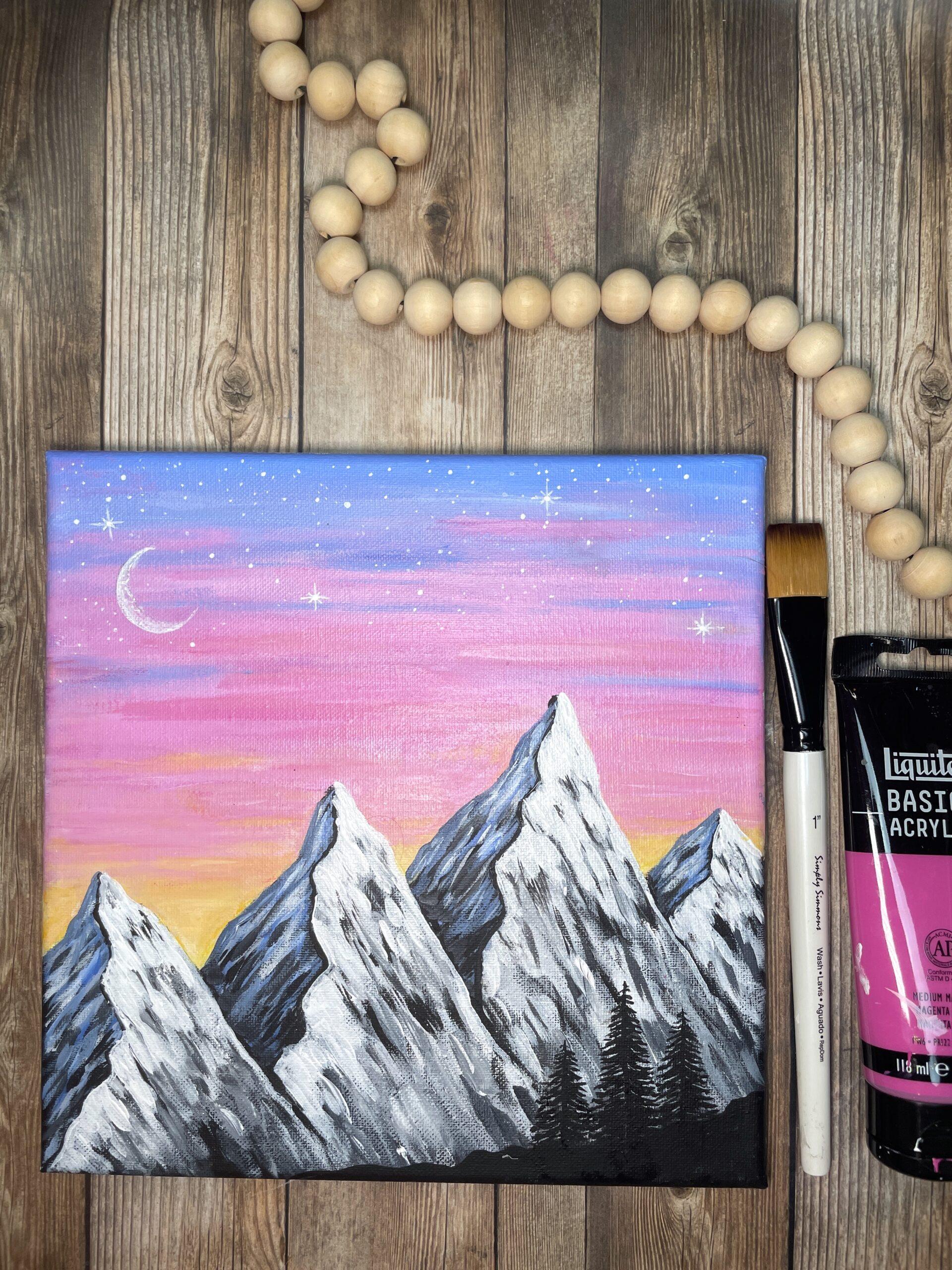 mountain painting beginner easy